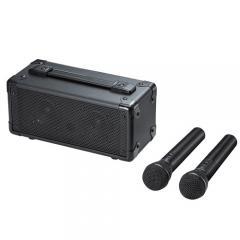 ワイヤレス拡声器スピーカー(ワイヤレスマイク2本付き・講演/講義・イベント用・20W・収納バッグ/ACアダプタ付き・AC&乾電池両対応)