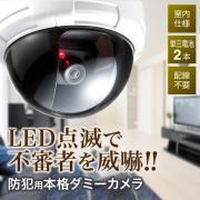 ダミー防犯カメラ(ドーム型・LEDライト・電池駆動)