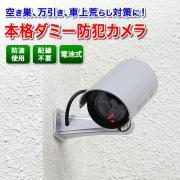 ダミー防犯カメラ(防滴仕様、赤色LEDライト、電池駆動)