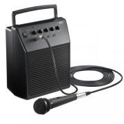 マイク付きスピーカー(アンプ内蔵スピーカー・会議・講義・イベント用・拡声器・有線マイク付・マイク入力2系統・20W・AC&乾電池両対応)