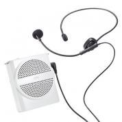 小型拡声器(ハンズフリー/コンパクト/軽量・イベント・店頭販売・誘導案内・ポータブル・大容量バッテリー・10W・ホワイト)