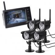防犯カメラ&ワイヤレスモニターセット(防水屋外カメラ・ワイヤレスカメラ4台セット・録画対応・SD/USBメモリー接続対応)
