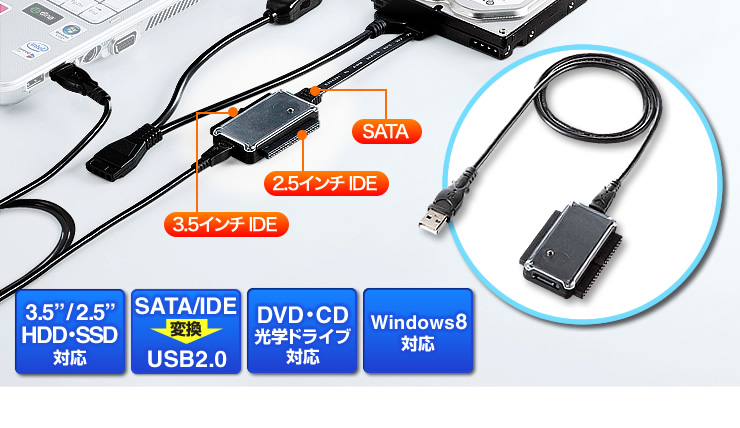 3.5/2.5HDD・SSD対応 SATA/IDE USB2.0 Windows8対応